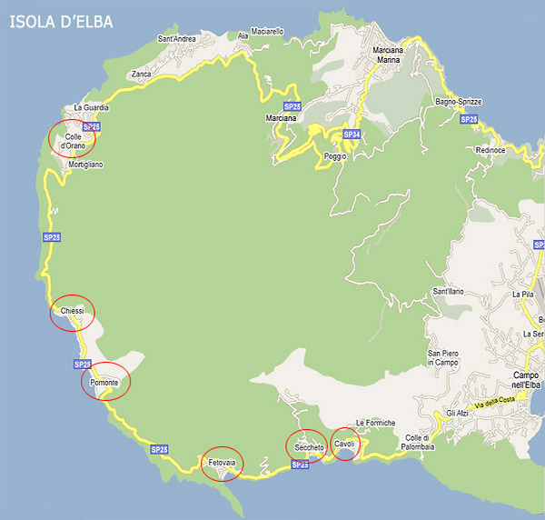 >The map of the Costa del Sole on the island of Elba